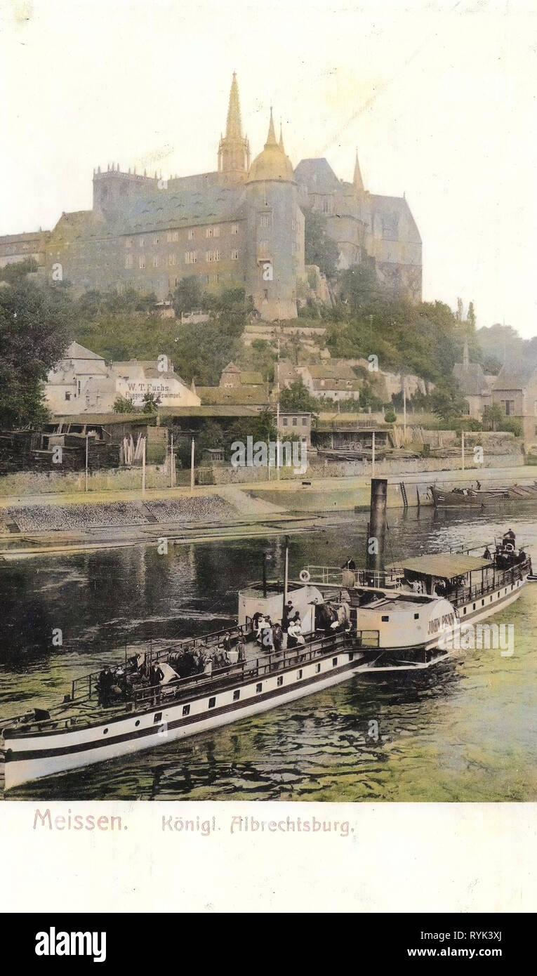 Elbe in Meißen, Freundschaft (Ship, 1864), Albrechtsburg, 1901, Meißen, Burgberg, Elbe mit Dampfer, Germany - Stock Image