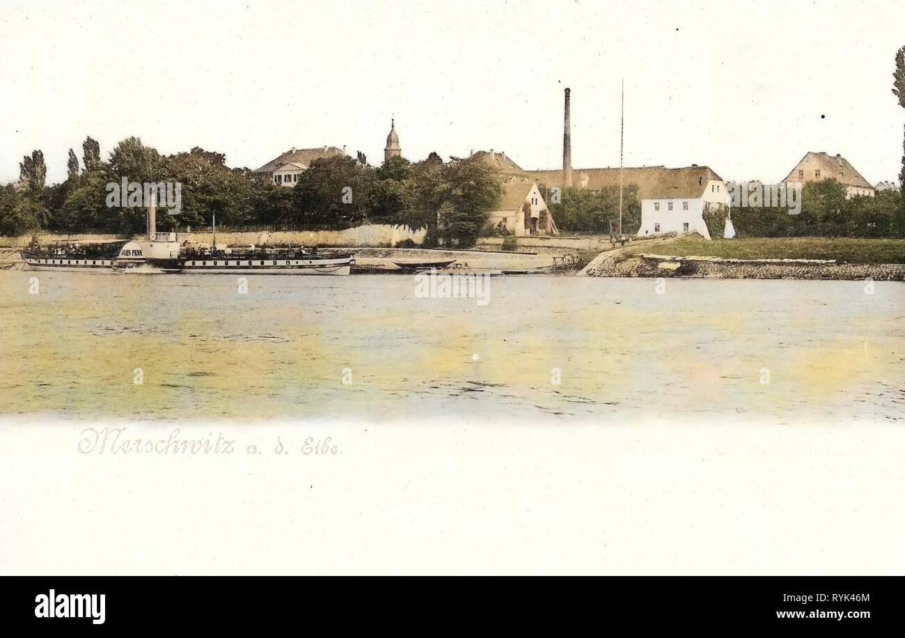 Elbe in Saxony, Freundschaft (Ship, 1864), Churches in Landkreis Meißen, 1901, Landkreis Meißen, Merschwitz, Ansicht mit Elbe und Dampfer, Germany - Stock Image