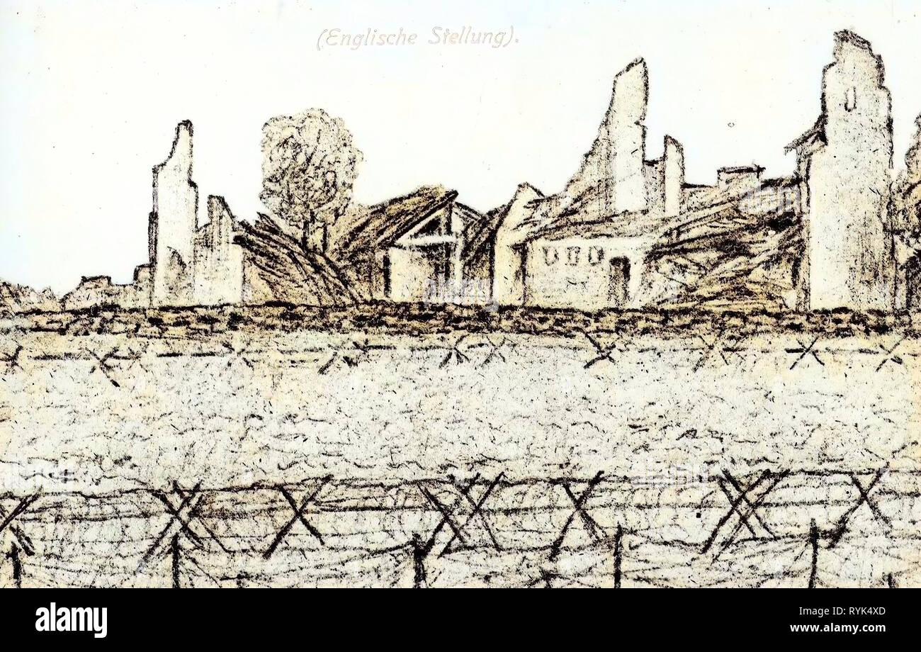 Paintings, 1915 postcards, 1915, Kriegsschauplatzkarten (Englische Stellung - Stock Image