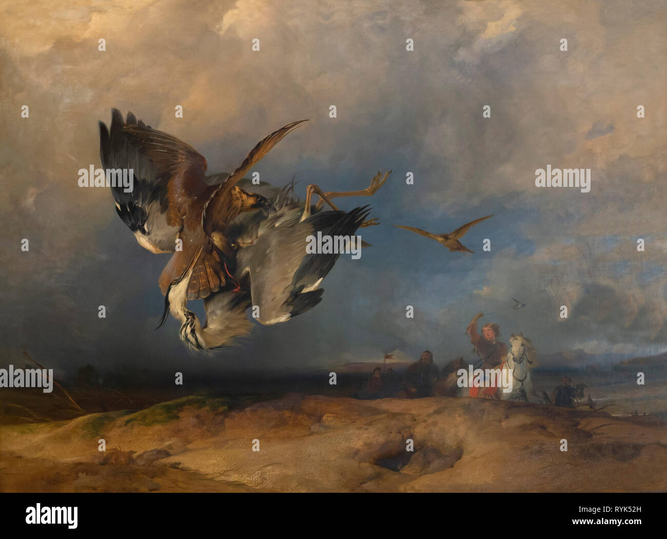Hawking in the Olden Times, Sir Edward Landseer, 1832, - Stock Image
