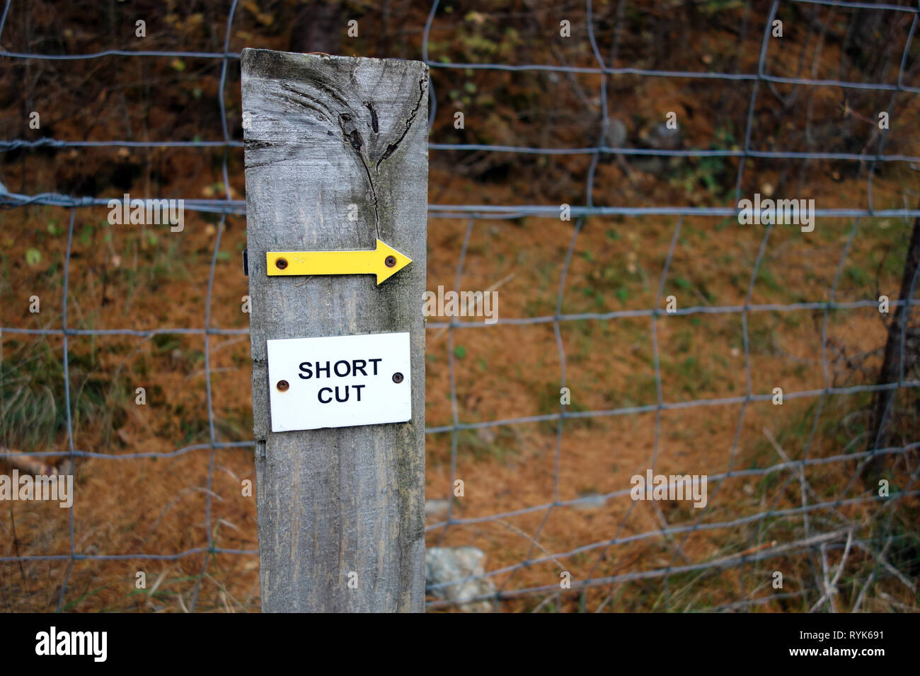 Yellow Arrow Pointing to a Short Cut near Gilbert's Bridge in Glen Tilt on Route to the Scottish Mountain Corbett Beinn Mheadhonach in Perthshire. Stock Photo