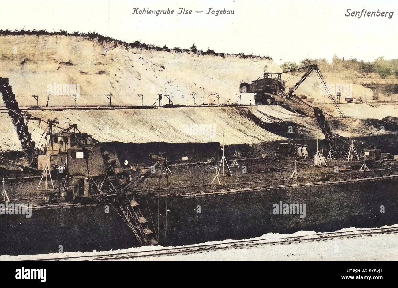 Open pit mining in Germany, Ilse Bergbau AG, Chain-and-bucket excavators, 1918, Brandenburg, Senftenberg, Kohlengrube Ilse, Tagebau - Stock Image