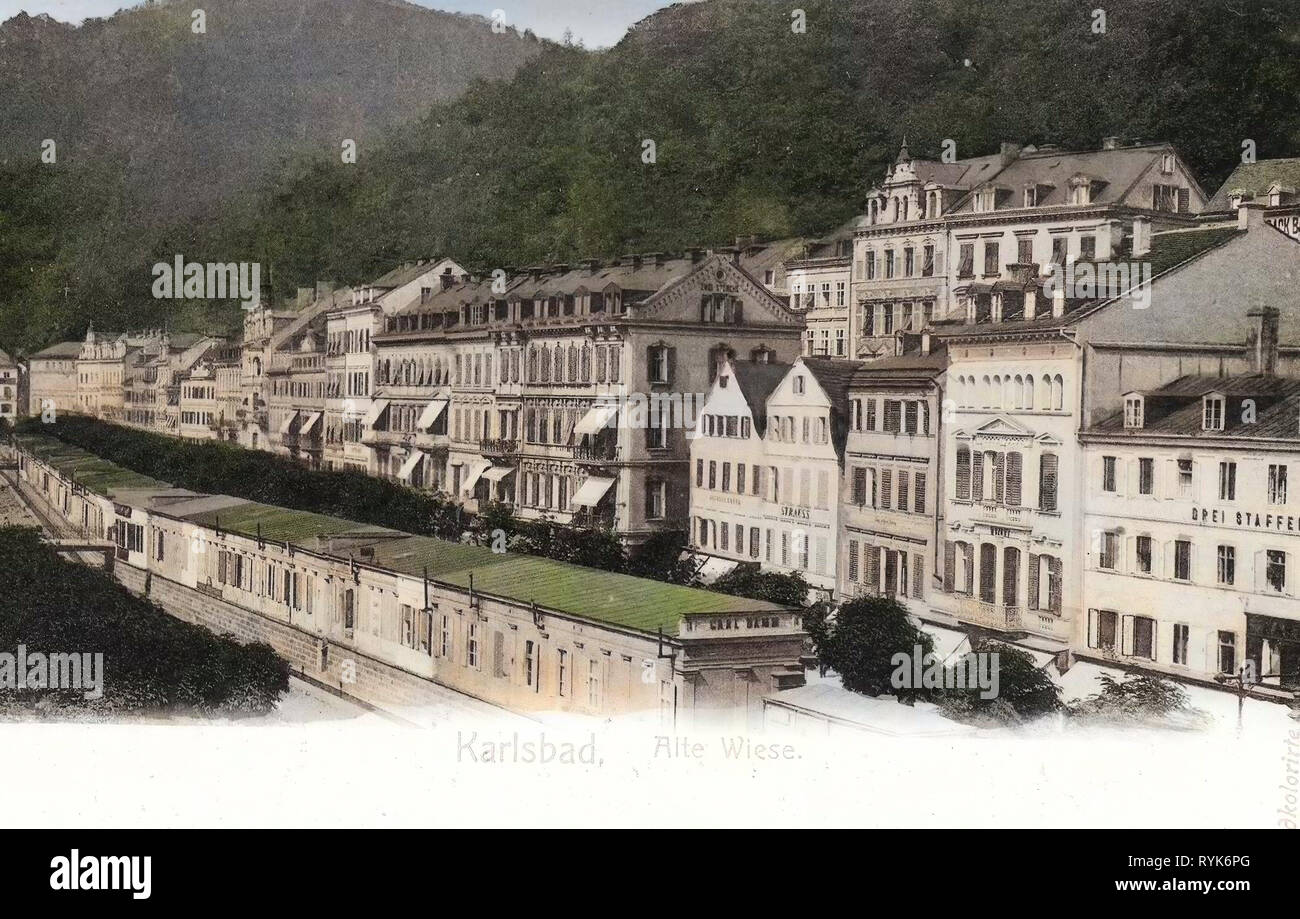 Buildings in Karlovy Vary, 1901, Karlovy Vary Region, Karlsbad, Alte Wiese, Czech Republic - Stock Image