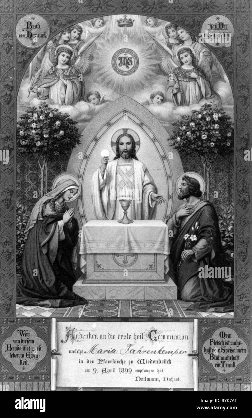 religion, Christianity, Jesus Christ, Communion, Jesus giving Mary and Joseph the communion, communion picture by F.H. Commans, print: J.P. Bachem, Cologne, at the occasion of a first communion, parish church, Wiedenbrueck, 9.4.1899, Artist's Copyright has not to be cleared - Stock Image
