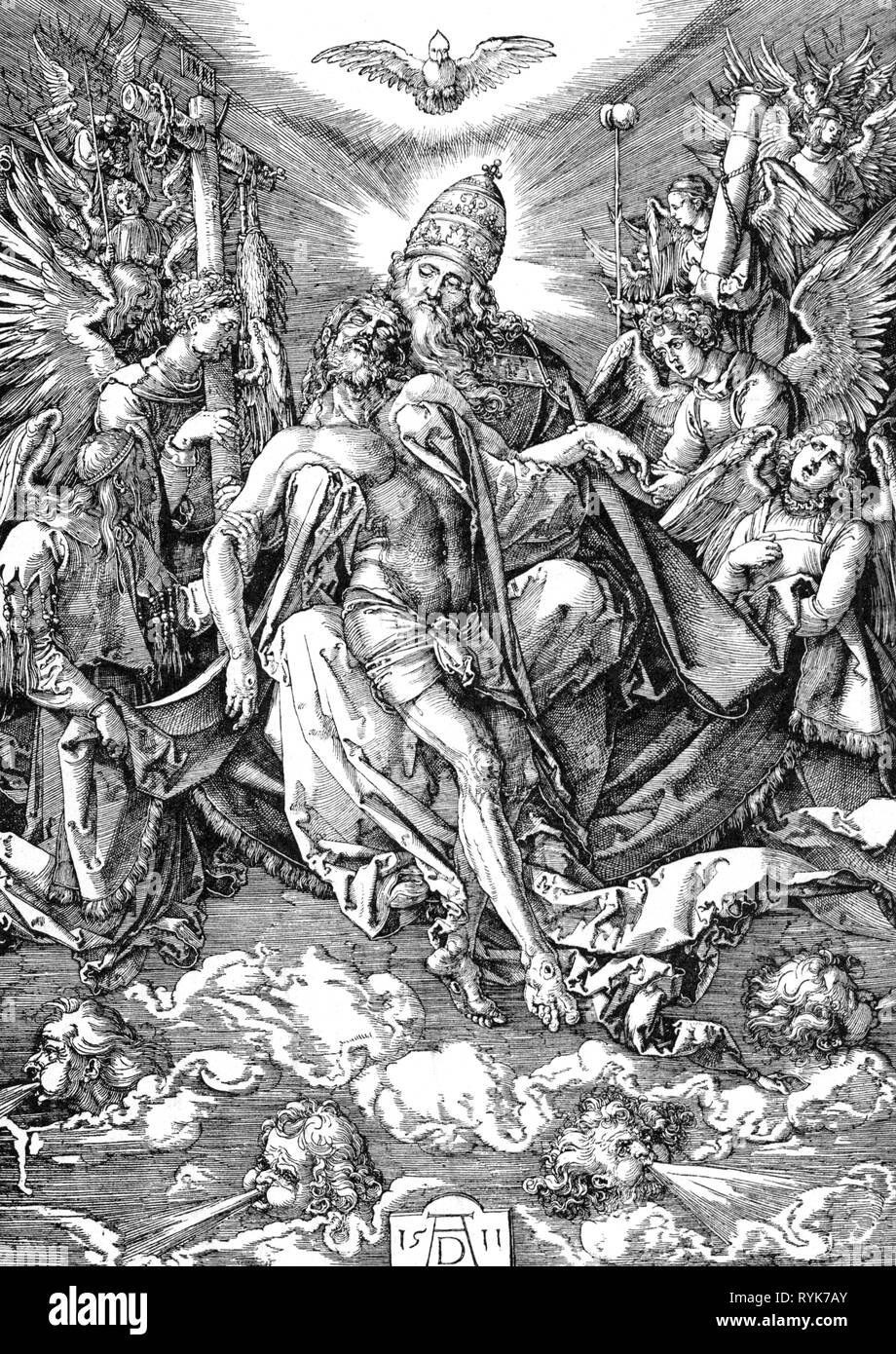 """religion, Christianity, Trinity, """"Holy Trinity"""", woodcut by Albrecht Duerer (1472 - 1528), 1511, Artist's Copyright has not to be cleared Stock Photo"""