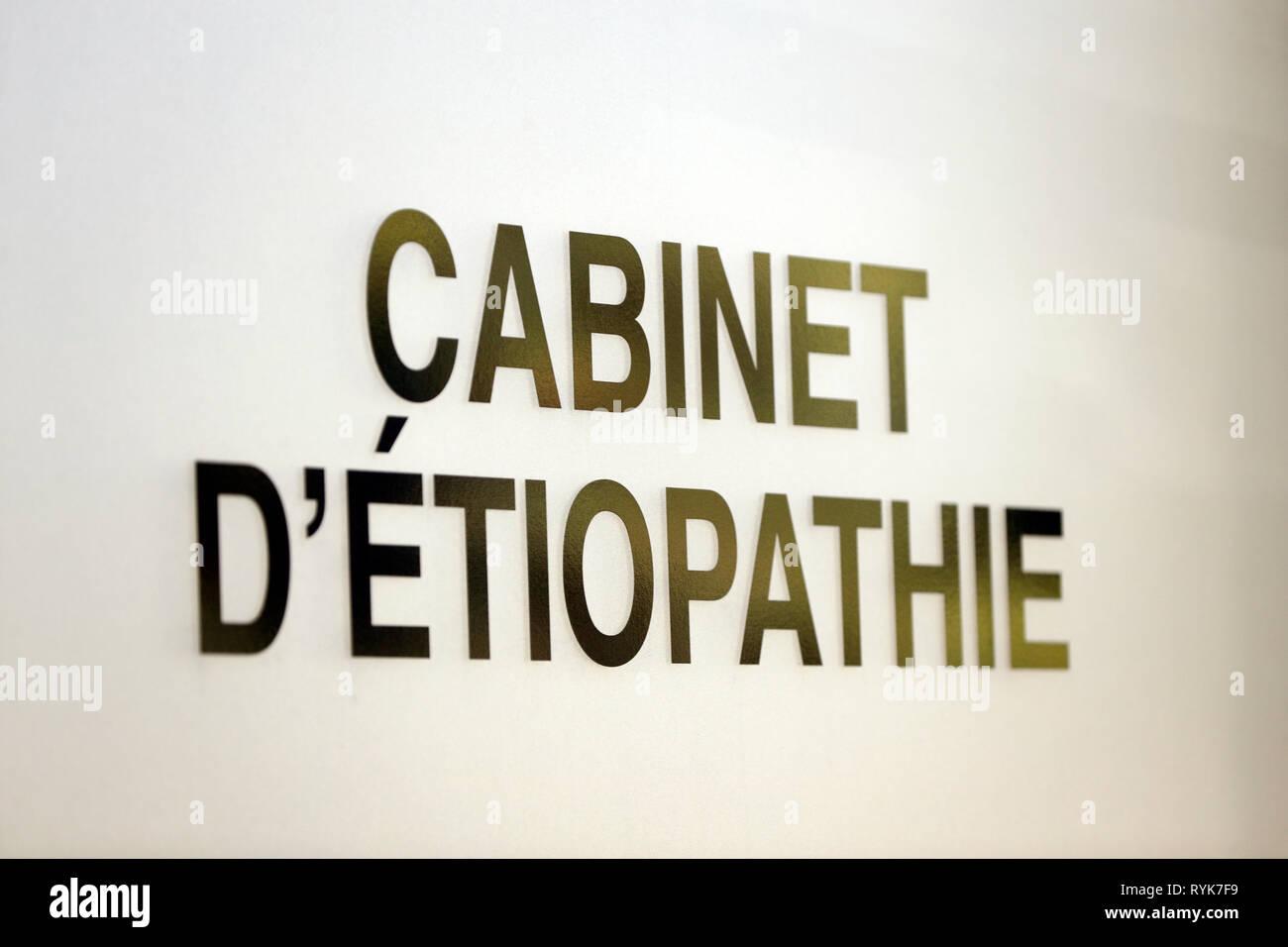 Etiopathy cabinet.  France. - Stock Image