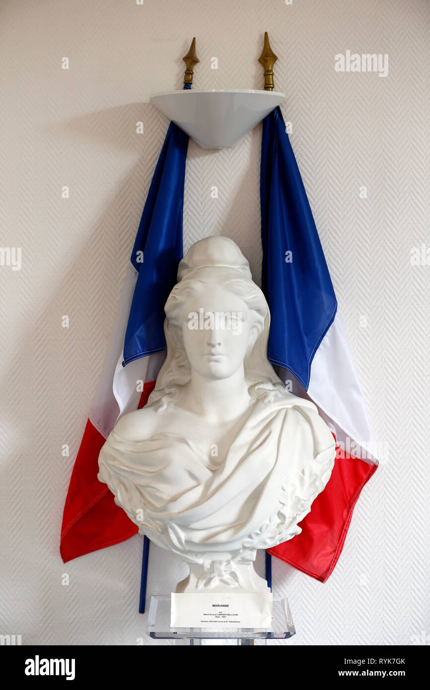 Statue of Marianne, national symbol of the French Republic .  Menthon Saint Bernard. France. - Stock Image