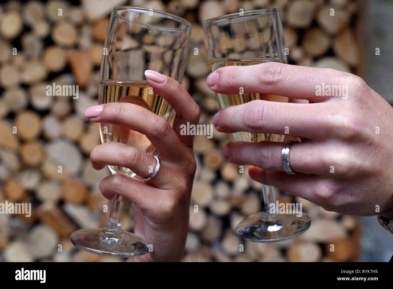 Two glasses of champagne, romantic celebration of engagement or anniversary. France. - Stock Image