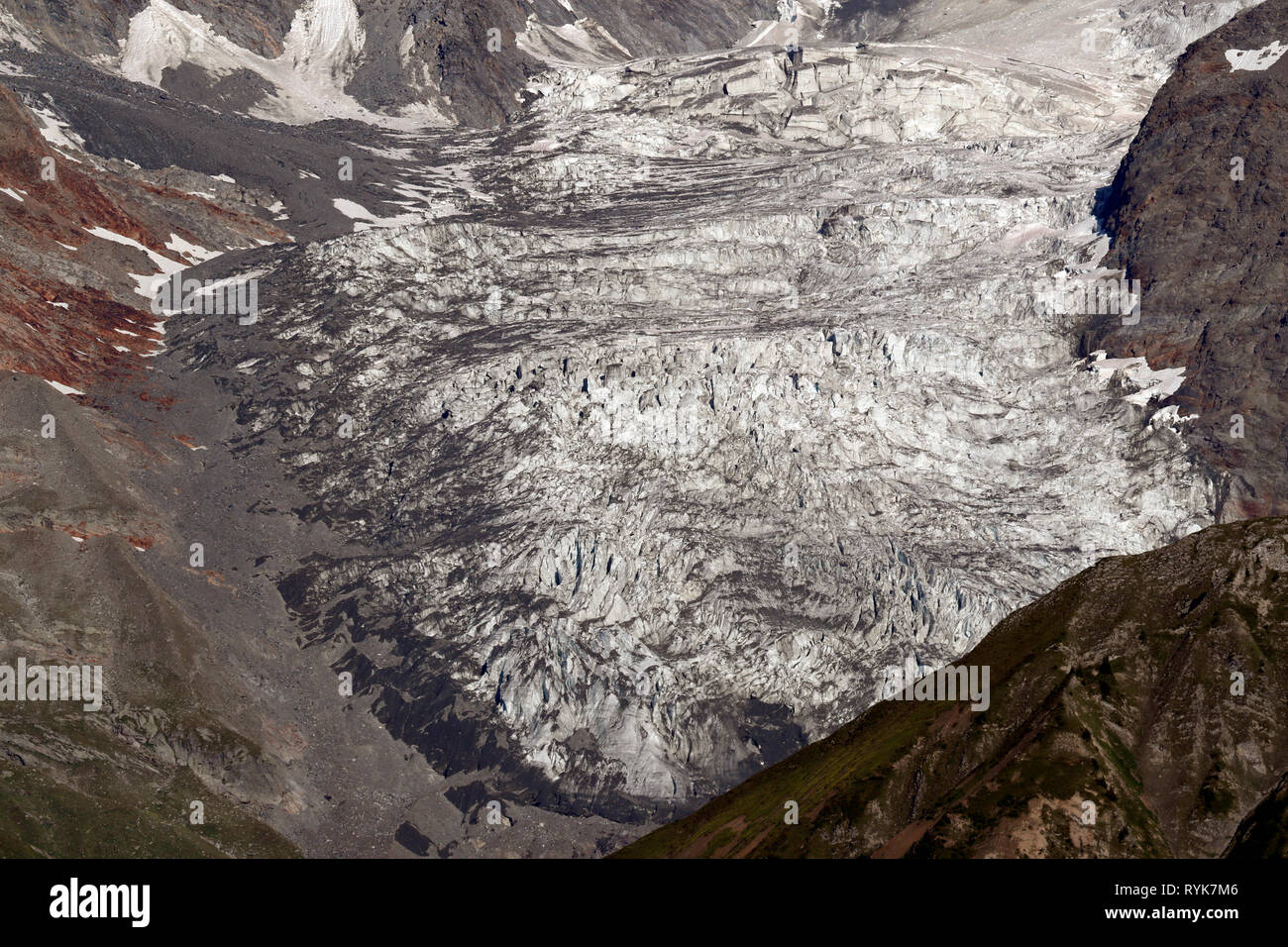 Landscape of the French Alps in summer.  Mont Blanc Massif.  Bionnassay glacier.   France. - Stock Image
