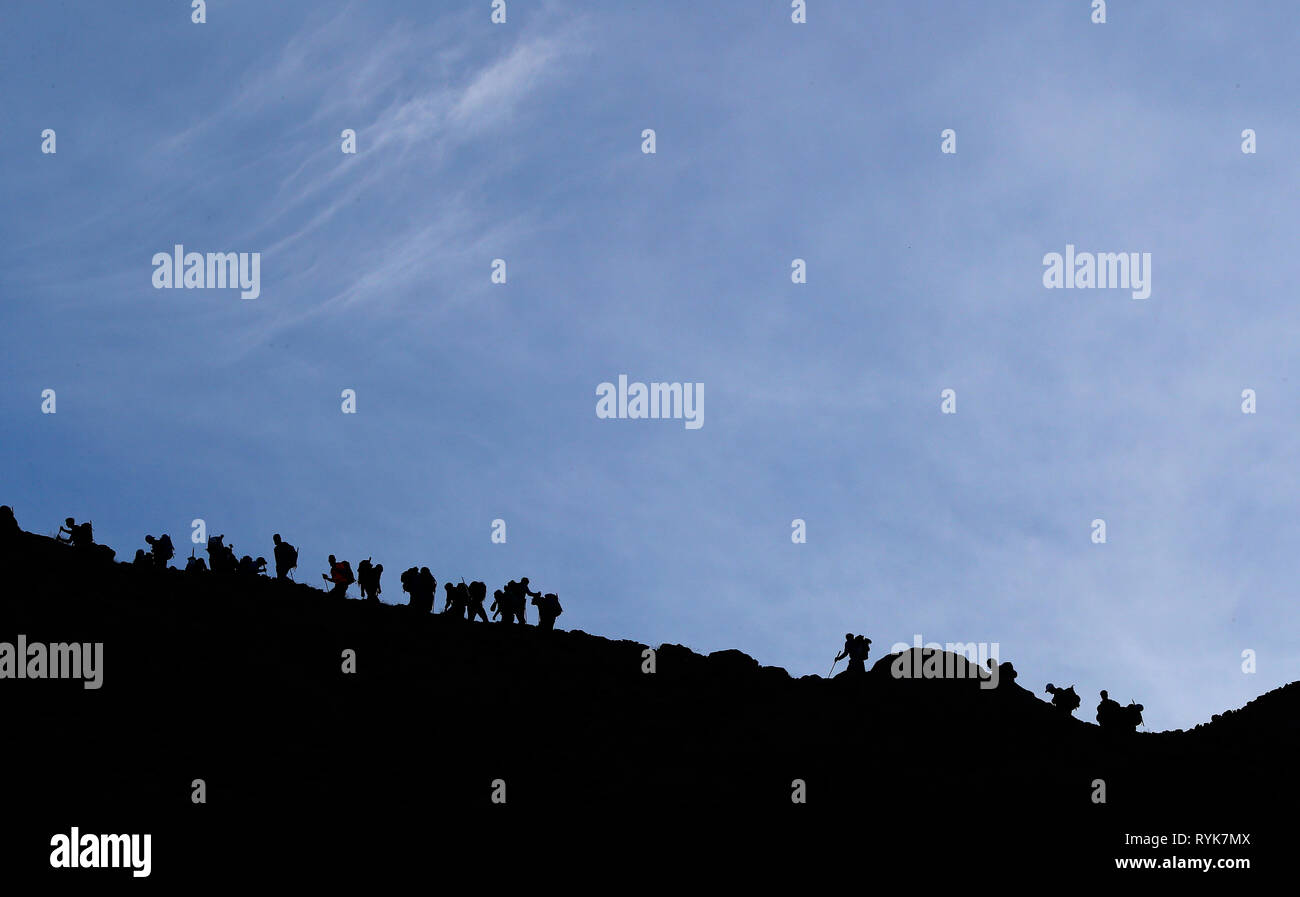 Alpinists during the ascent of Mont Blanc along the regular route via Gouter Refuge.   France. - Stock Image