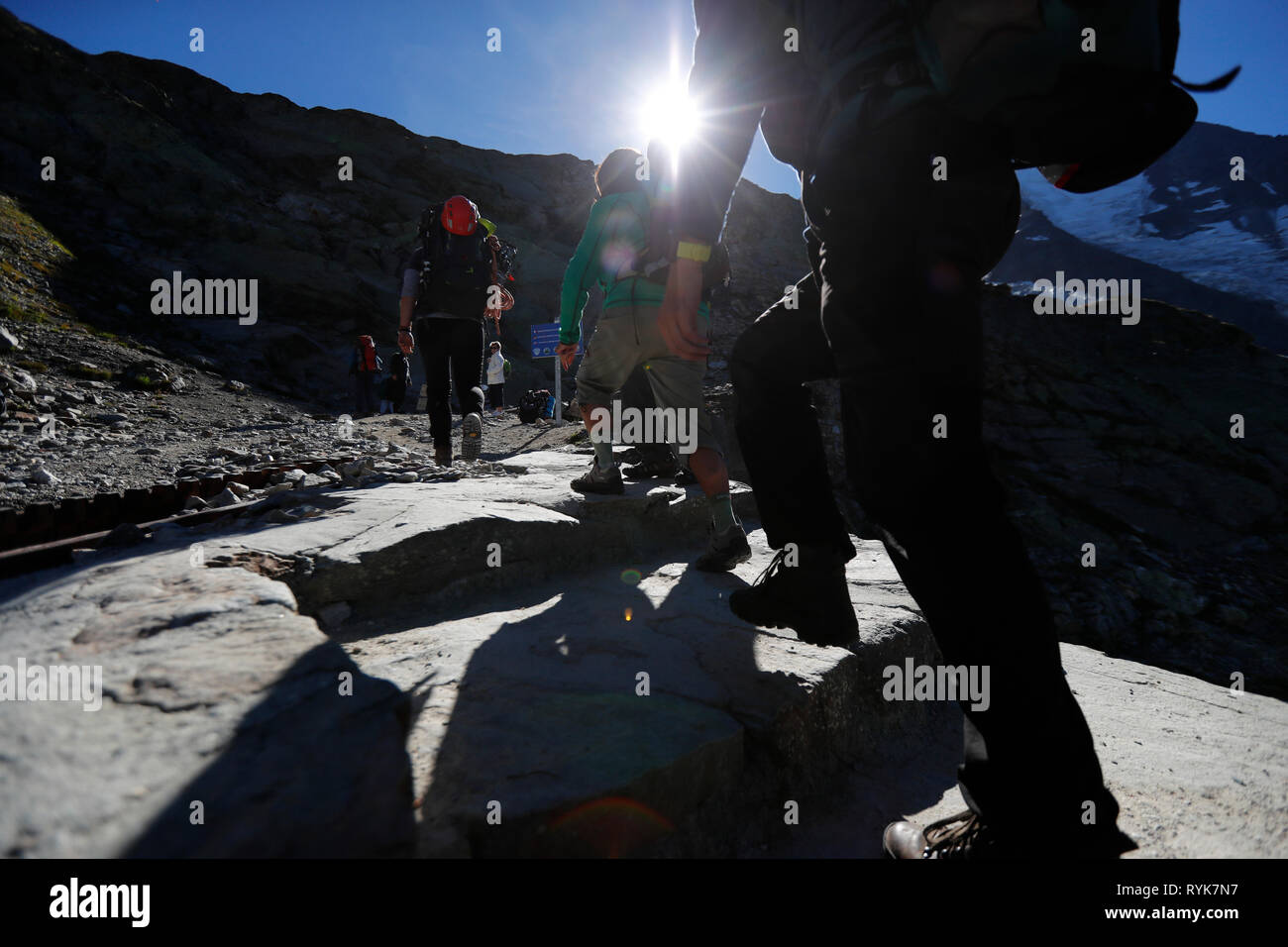 Alpinists during the ascent of Mont Blanc along the regular route via Gouter Refuge.  France. Stock Photo