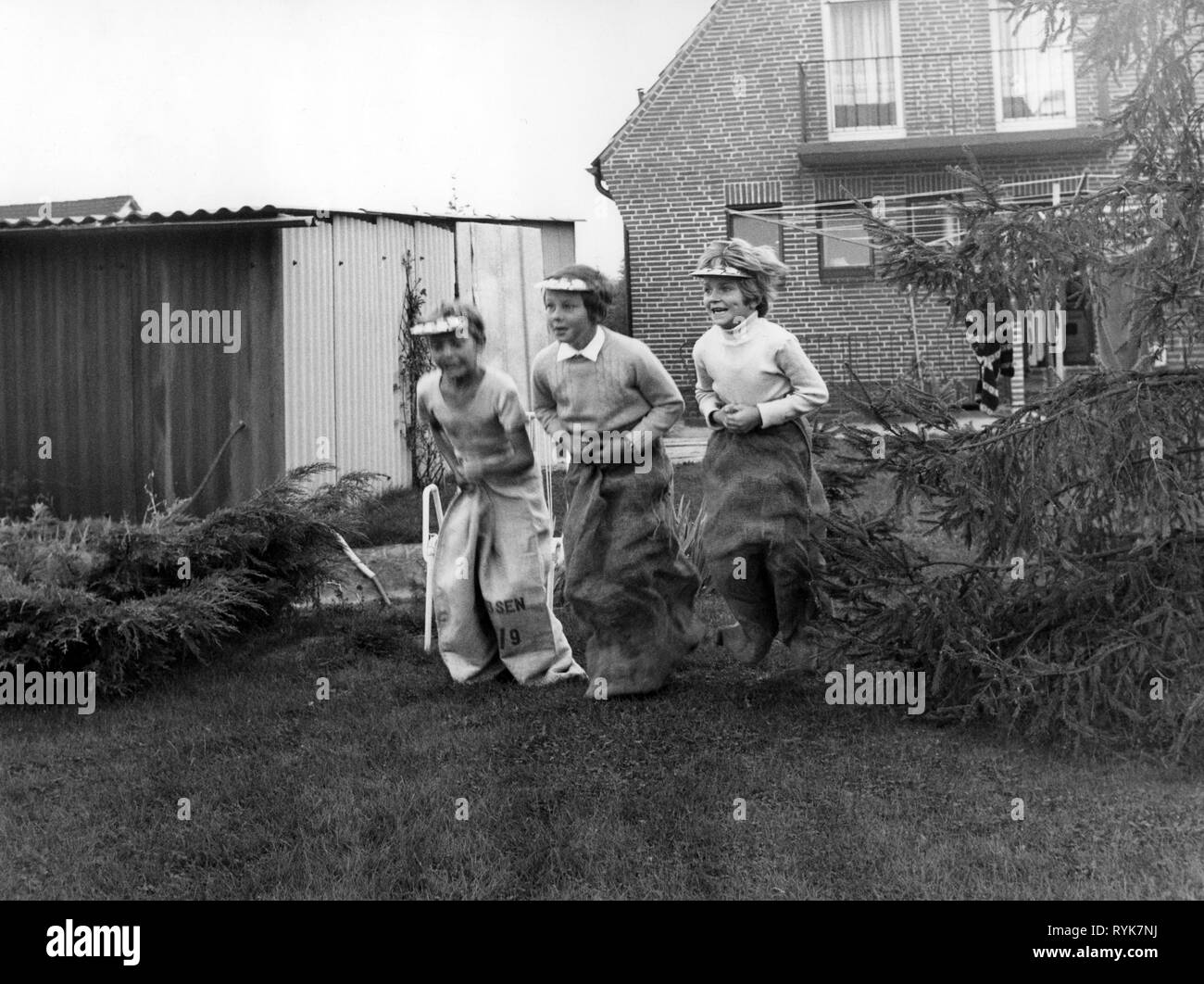 people, children, games, sack race, 1972, Additional-Rights-Clearance-Info-Not-Available - Stock Image