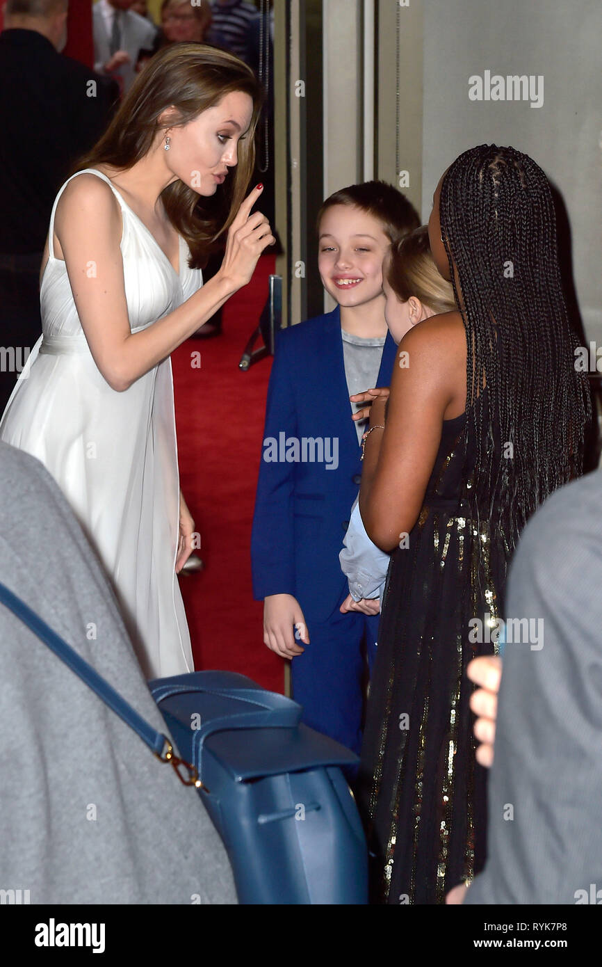 Angelina Jolie and her kids attending the world premiere of