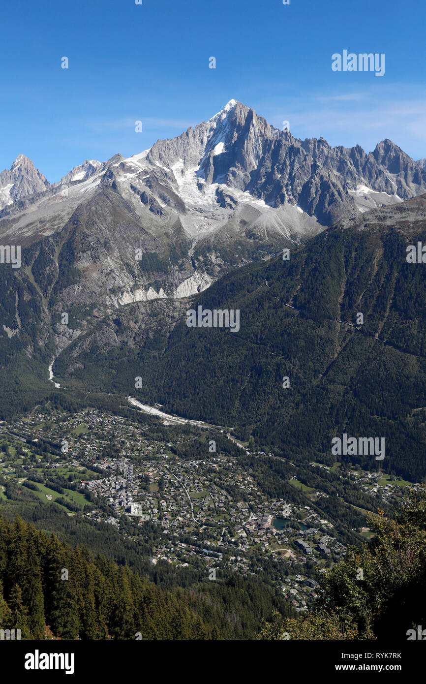 Chamonix Valley, French Alps.  Chamonix Valley, French Alps. The Aiguille Verte seen from Planpraz.  France. - Stock Image