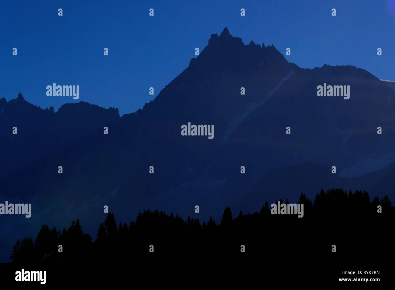Chamonix Valley, French Alps. The Mont Blanc massif. Aiguille du Midi 3842 m.   France. - Stock Image