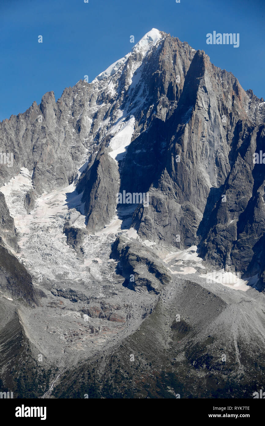 Chamonix Valley, French Alps. The Aiguille Verte seen from Planpraz.  France. - Stock Image