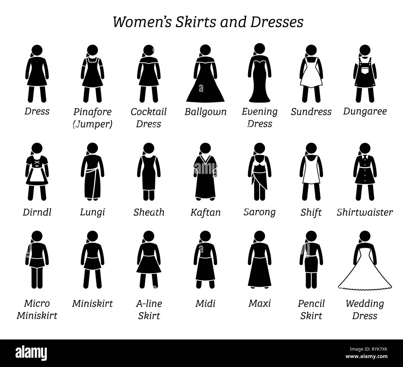Women skirts and dresses. Stick figures depict a set of different types of skirt and dress. This fashion clothings design are wear by woman, female, l - Stock Vector