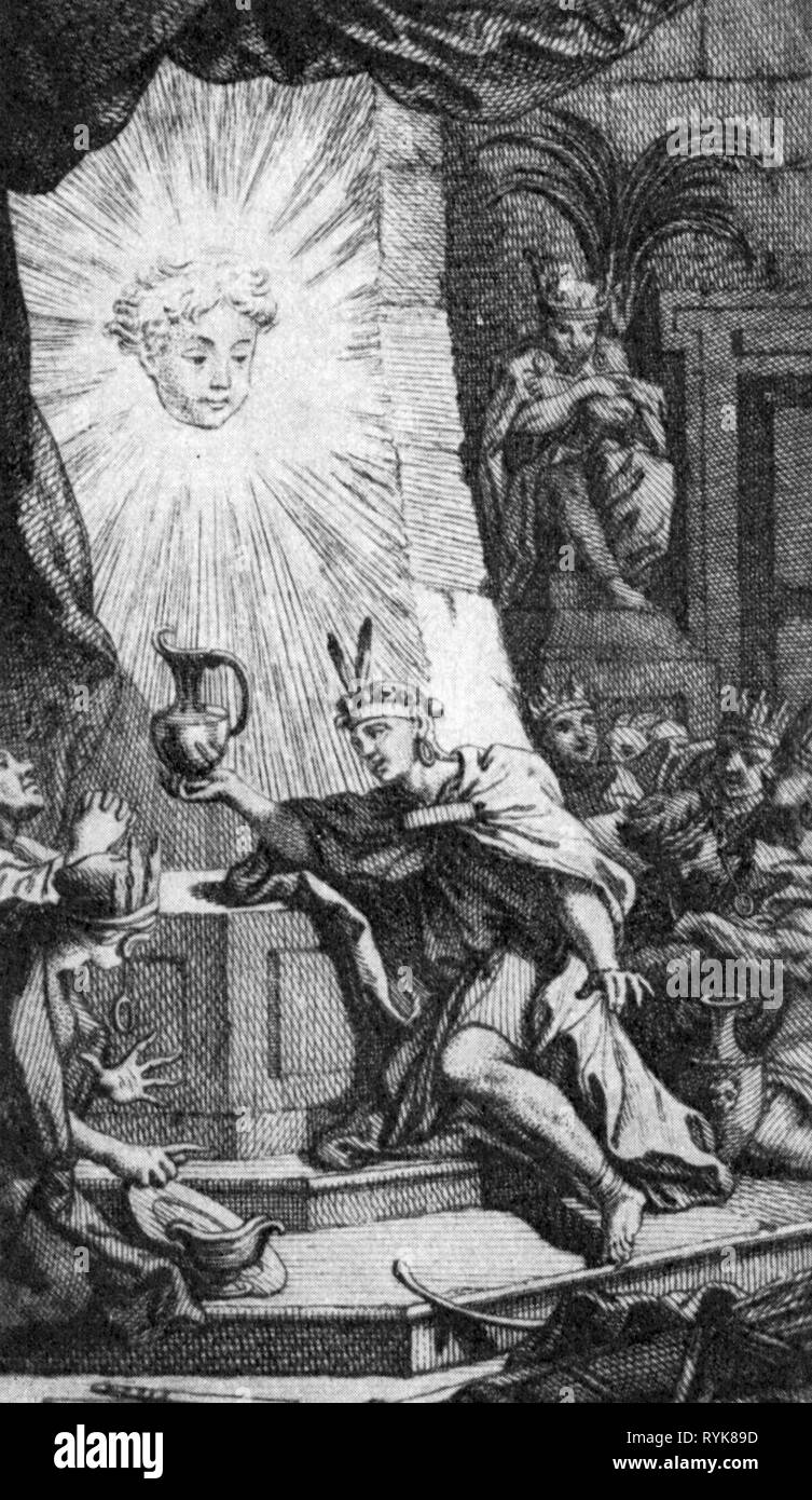 religion, sun cult, an Inca is bringing a libation to the statue the sun, after copper engraving, Inca Garcilaso de la Vega: 'Historia General del Peru', 1613, French edition, Paris, 1744, Inca, Red Indians, Red Indian, paganism, sacrifices, sacrifice, sacrificing, South America, Inca empire, empire, sun worshipper, sun worship, 17th century, 18th century, religion, religions, bringing, bring, statue, statues, sun, suns, edition, editions, historic, historica, Artist's Copyright has not to be cleared - Stock Image