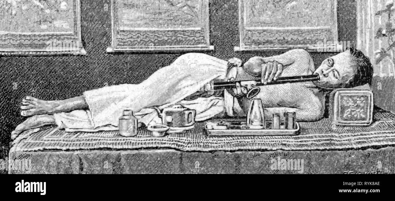 drugs, opium, Chinese smoking opium, wood engraving, later 19th century, Additional-Rights-Clearance-Info-Not-Available - Stock Image