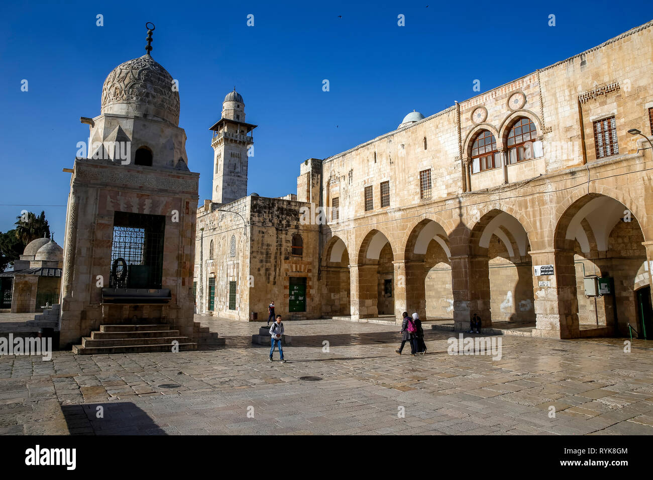 Shrines on the Haram esh-Sharif (Al Aqsa compound, Temple Mount), Jerusalem, Israel. - Stock Image
