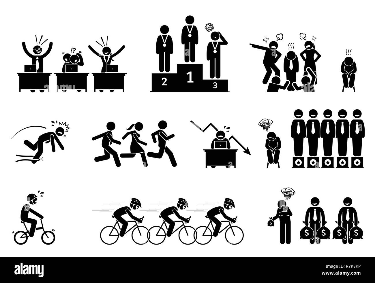 Unsuccessful and failure businessman. Pictogram depict a loser and laggard person. He is being slow, lousy, and perform badly in every work and compet - Stock Image
