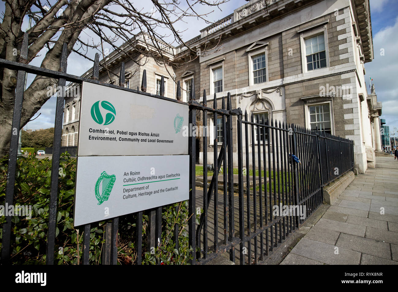 Department of Culture Heritage and the Gaeltacht and Environment Community and Local Government at the Custom House custom house quay Dublin republic  - Stock Image