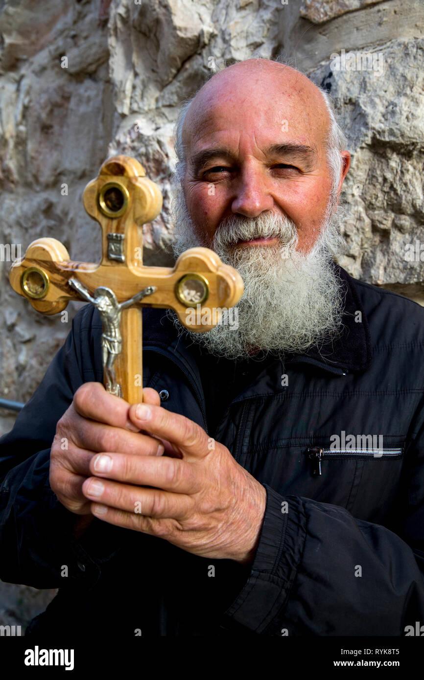 Serbian orthodox pilgrim in Jerusalem, Israel. - Stock Image