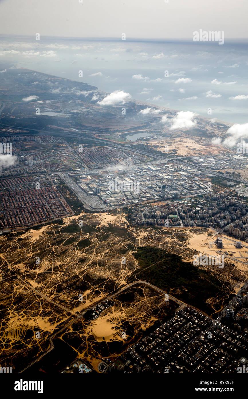 Aerial view of the coastal area near Tel Aviv, Israel. - Stock Image