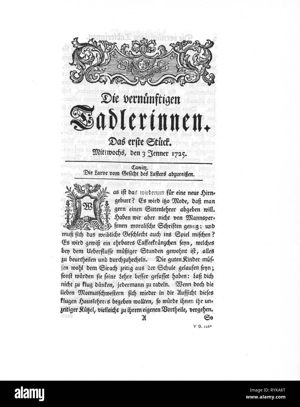 press / media, magazines, 'Die vernuenftigen Tadlerinnen', front page, editor: Johann Christoph Gottsched (1700 - 1766), number 1, Halle, 3.1.1725, Additional-Rights-Clearance-Info-Not-Available - Stock Image
