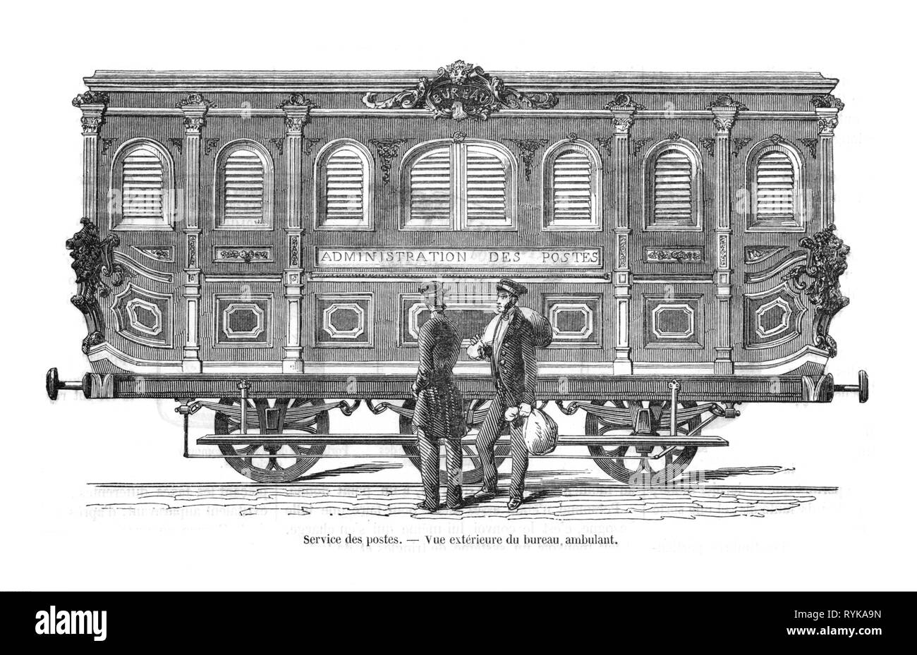 mail, railway, Travelling Post Office, mail car of the French state post, exterior view with two employees, wood engraving, France, circa 1840, Additional-Rights-Clearance-Info-Not-Available - Stock Image