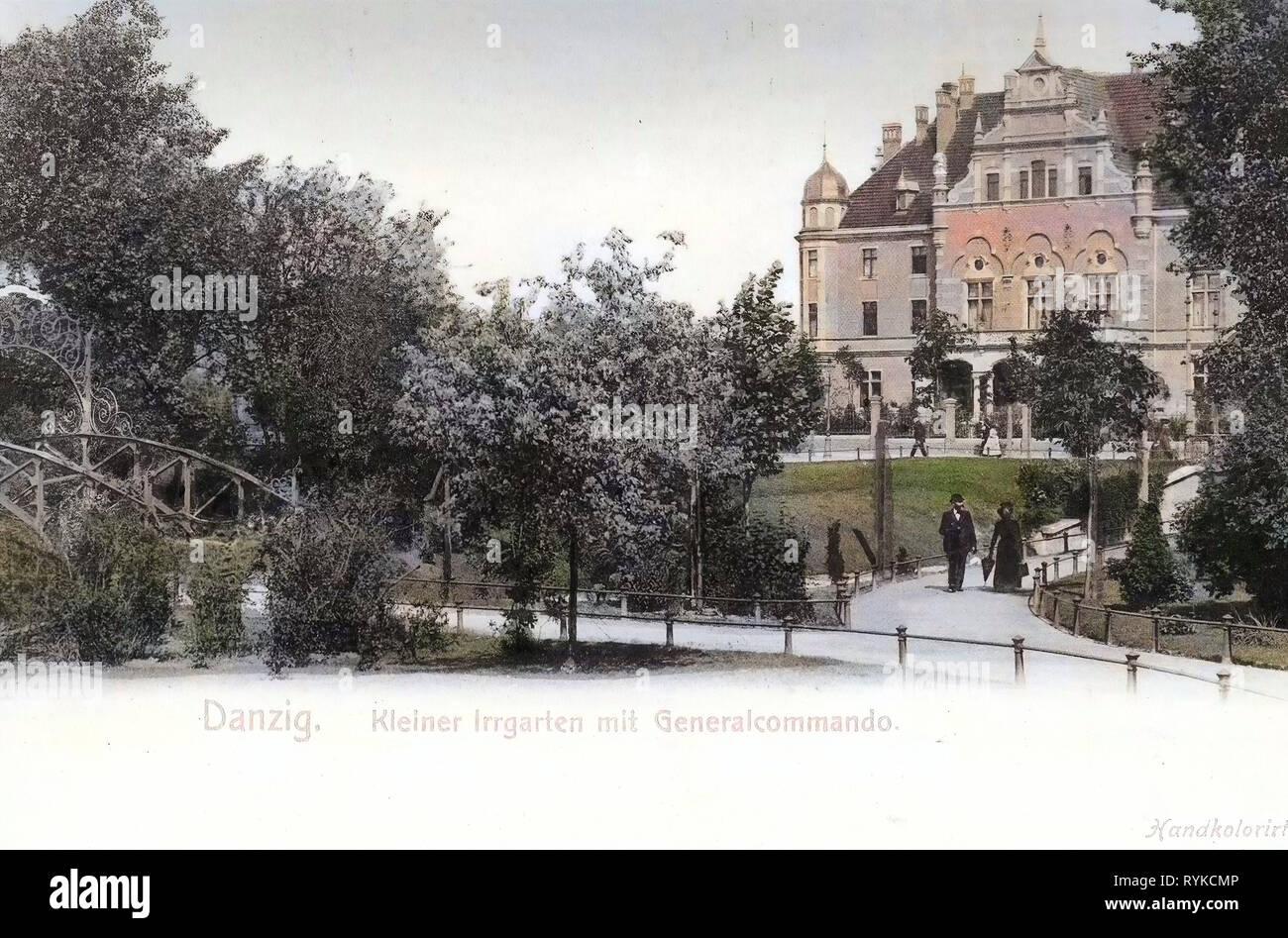 Bridges in Gdańsk, Military in West Prussia, Hedge mazes in Poland, 1901, Pomeranian Voivodeship, Danzig, Kleiner Irrgarten am Generalkommando - Stock Image