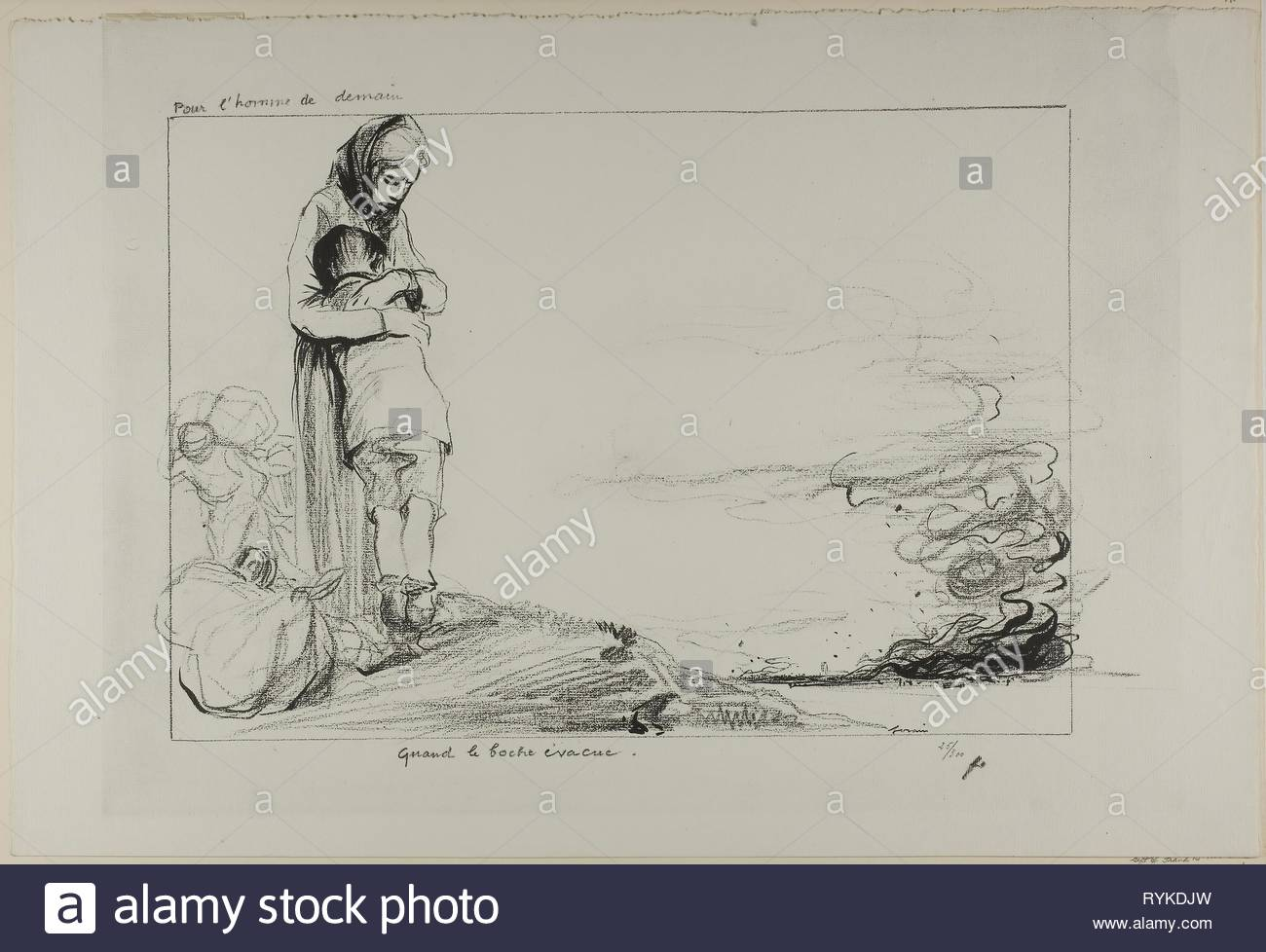 No. 145: Pour l'homme de demain. - Quand le boche évacue. Jean Louis Forain; French, 1852-1931. Date: 1918. Dimensions: 290 × 460 mm (image); 377 × 570 mm (sheet). Line block taken from a drawing on ivory wove paper. Origin: France. Museum: The Chicago Art Institute, Chicago, USA. - Stock Image
