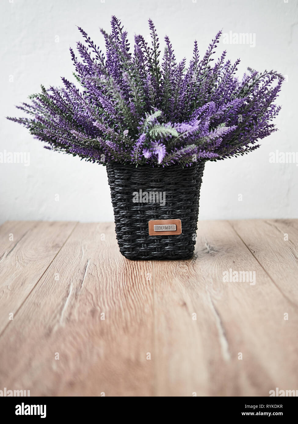 Bunch of lavander on wooden background. Summer concept Stock Photo