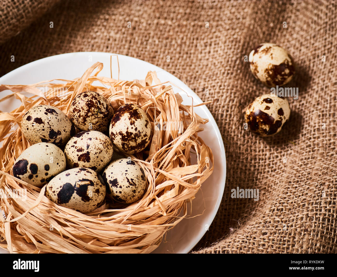 Quail eggs. Congratulations Easter background. Easter eggs. Stock Photo