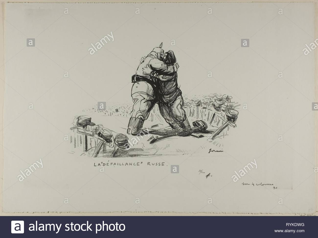 No. 137: La 'défaillance' russe. Jean Louis Forain; French, 1852-1931. Date: 1918. Dimensions: 225 × 300 mm (image); 385 × 570 mm (sheet). Line block taken from a drawing on ivory wove paper. Origin: France. Museum: The Chicago Art Institute, Chicago, USA. - Stock Image