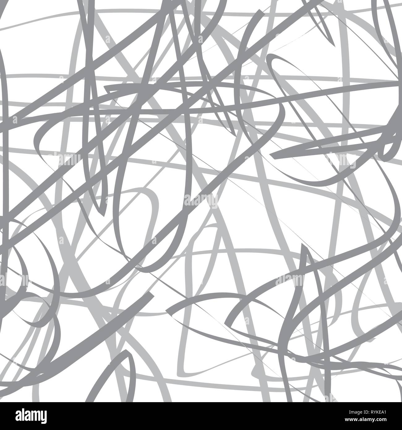 Vector logo, scribble of a wool clew. Confusion of lines inside a square frame - Stock Vector