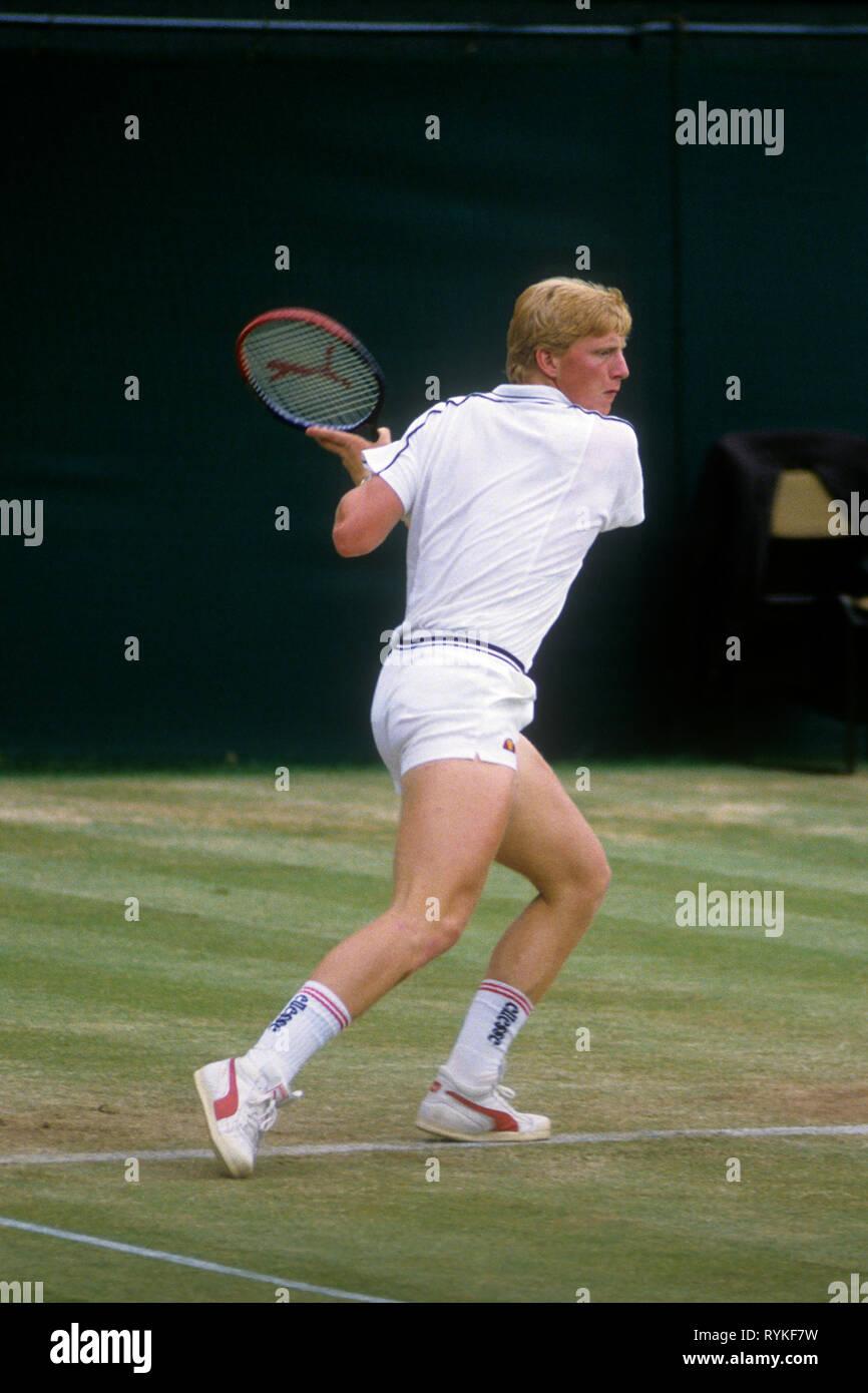 Boris Becker, tennis champion, in action at Wimbledon 1986 - Stock Image