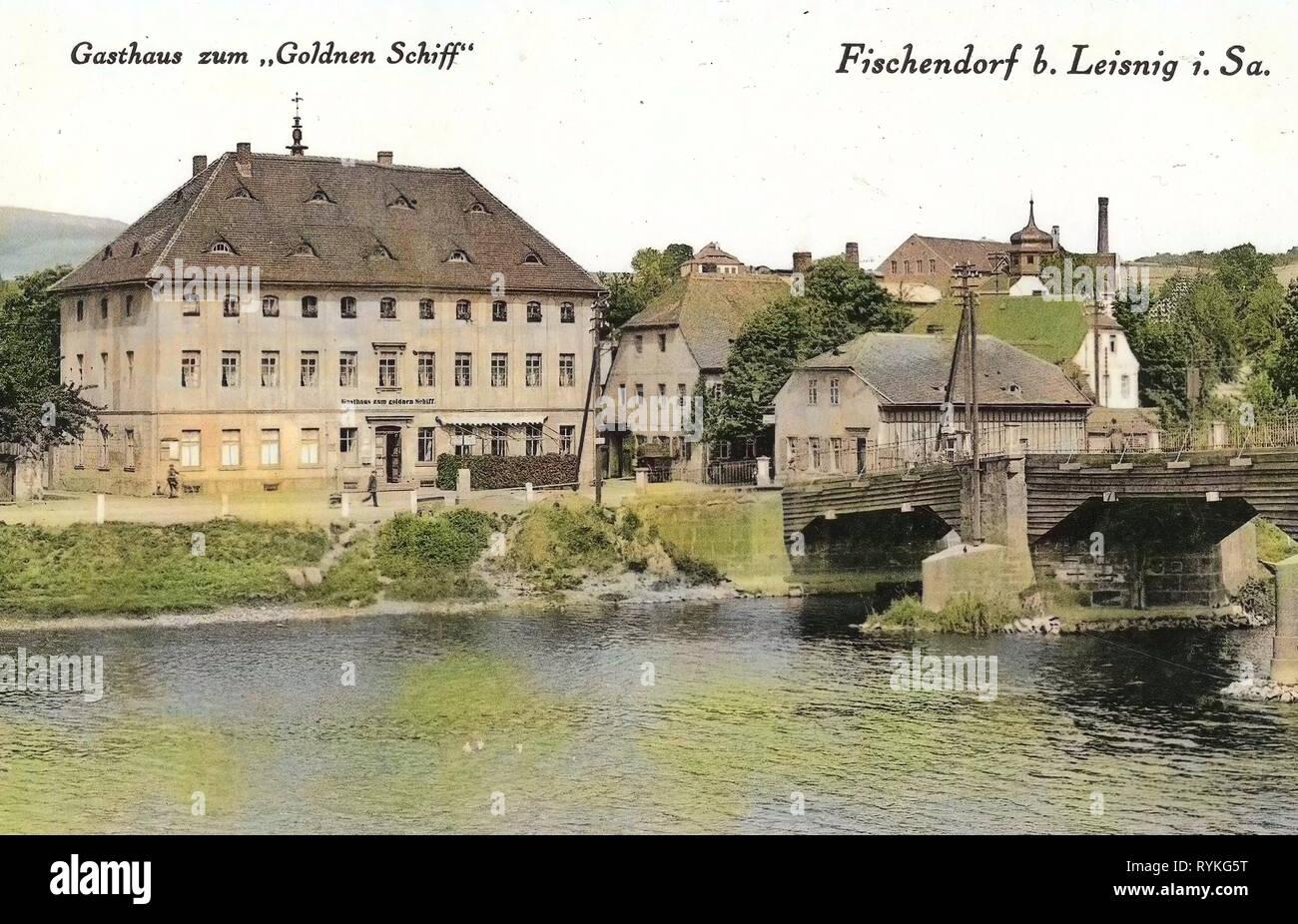 Inns in Landkreis Mittelsachsen, Fischendorf (Leisnig), 1915, Landkreis Mittelsachsen, Fischendorf, Gasthaus zum goldnen Schiff, Germany - Stock Image