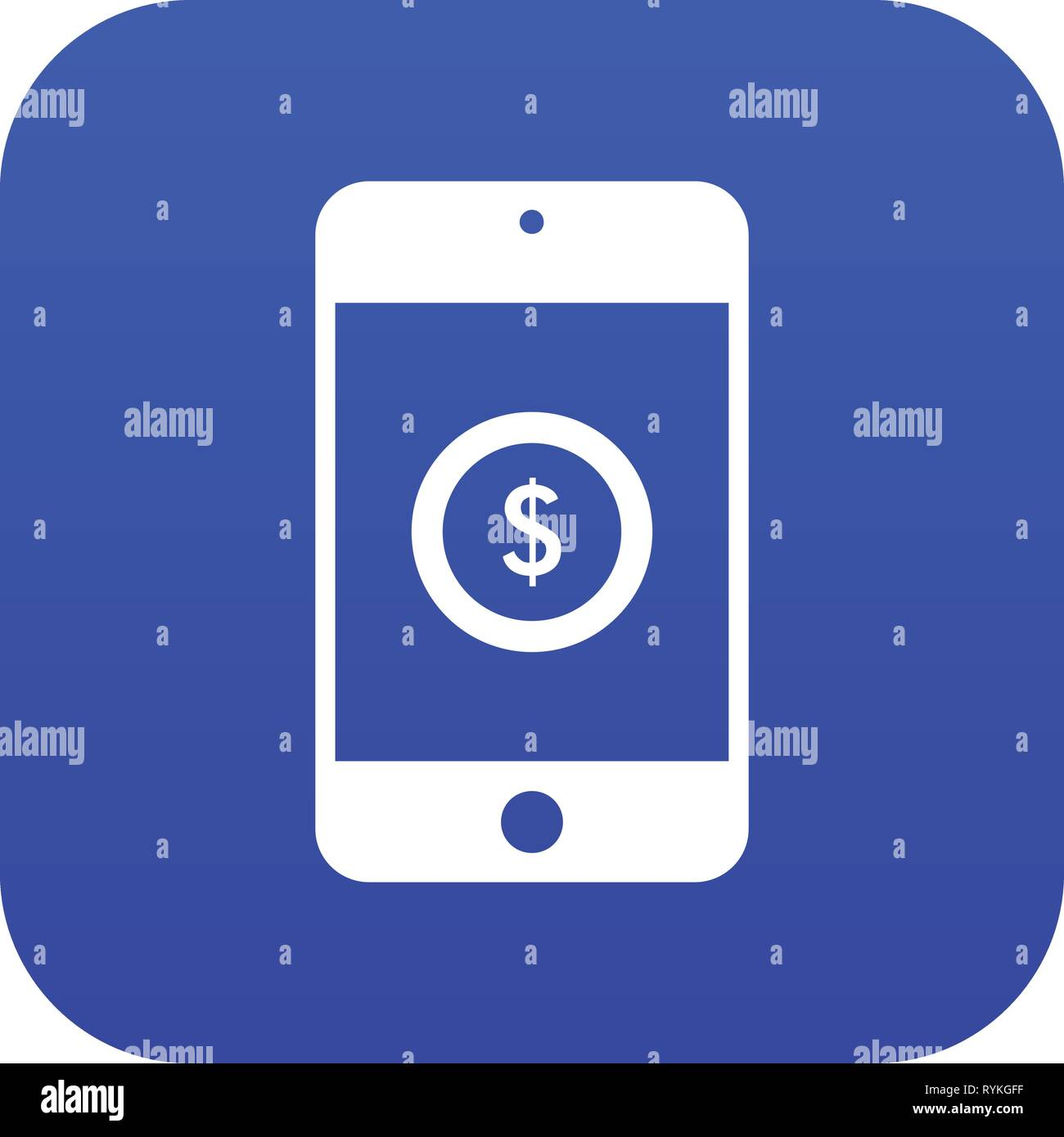 Smartphone with dollar sign on display icon digital blue - Stock Vector