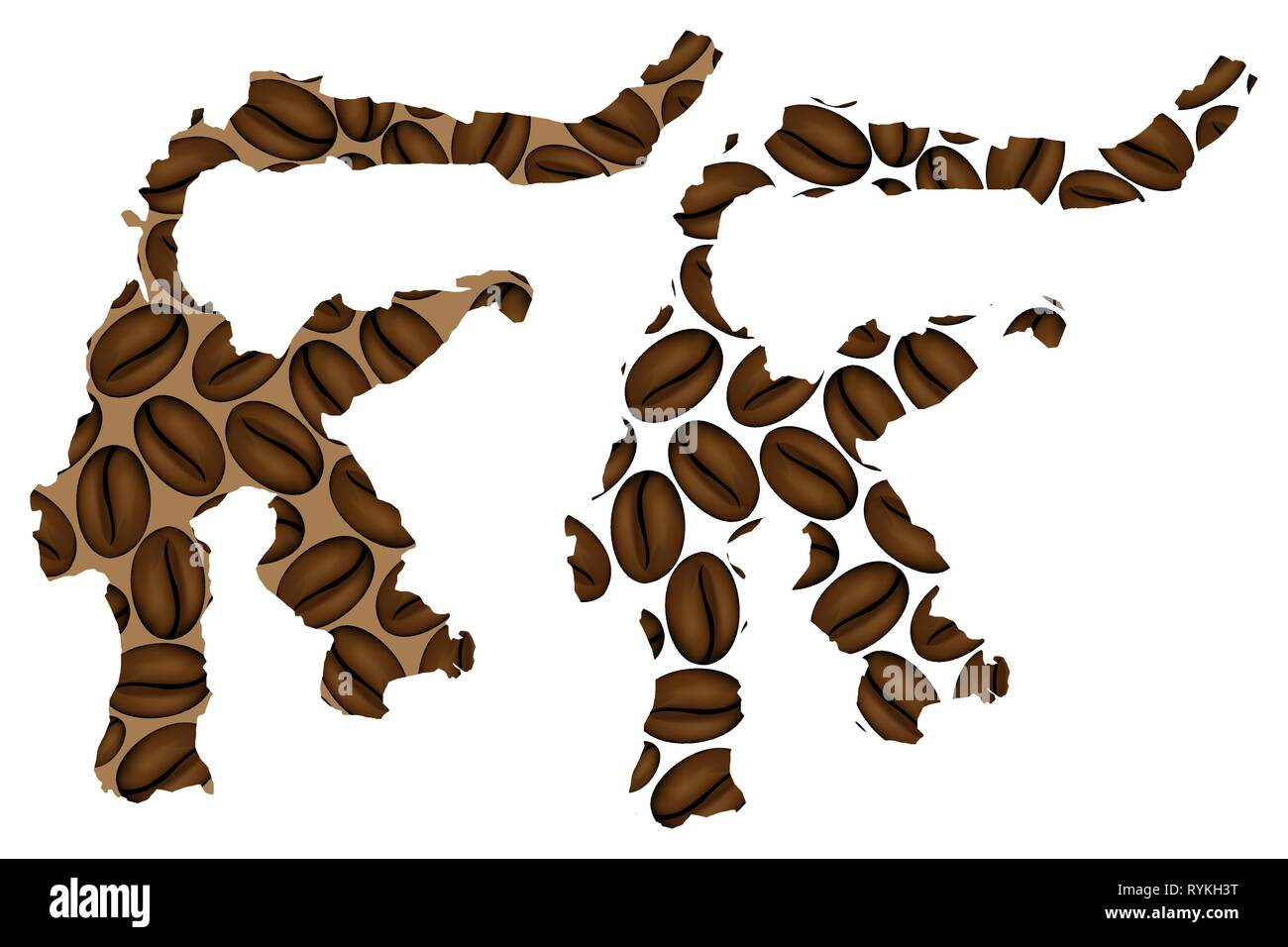 Sulawesi (Celebes) -  map of coffee bean, Sulawesi (Republic of Indonesia) map made of coffee beans, - Stock Image