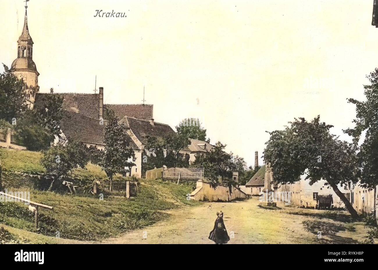 Postmeilensäule, Churches in Landkreis Bautzen, Buildings in Landkreis Bautzen, Krakau (Sachsen), 1915, Landkreis Bautzen, Krakau, Dorfstraße, Germany - Stock Image