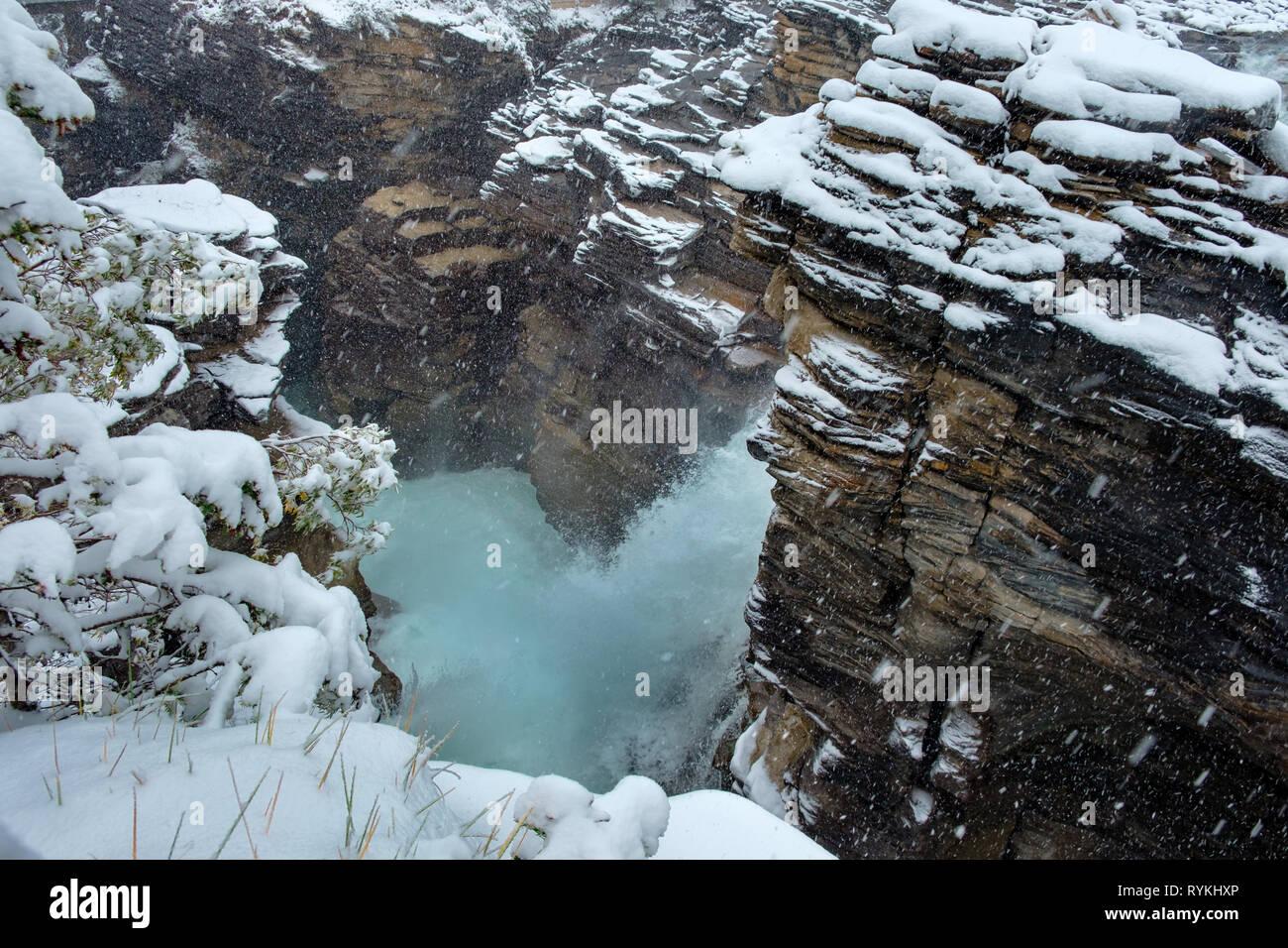 It's a Snowy morning at Athabasca Falls, Jasper, Canada. Stock Photo