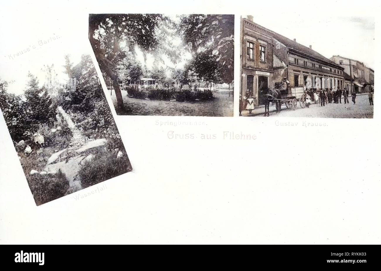 Multiview postcards, History of Wieleń, 1903, Greater Poland Voivodeship, Filehne, Gustav Krause, Unternehmen, Springbrunnen - Stock Image
