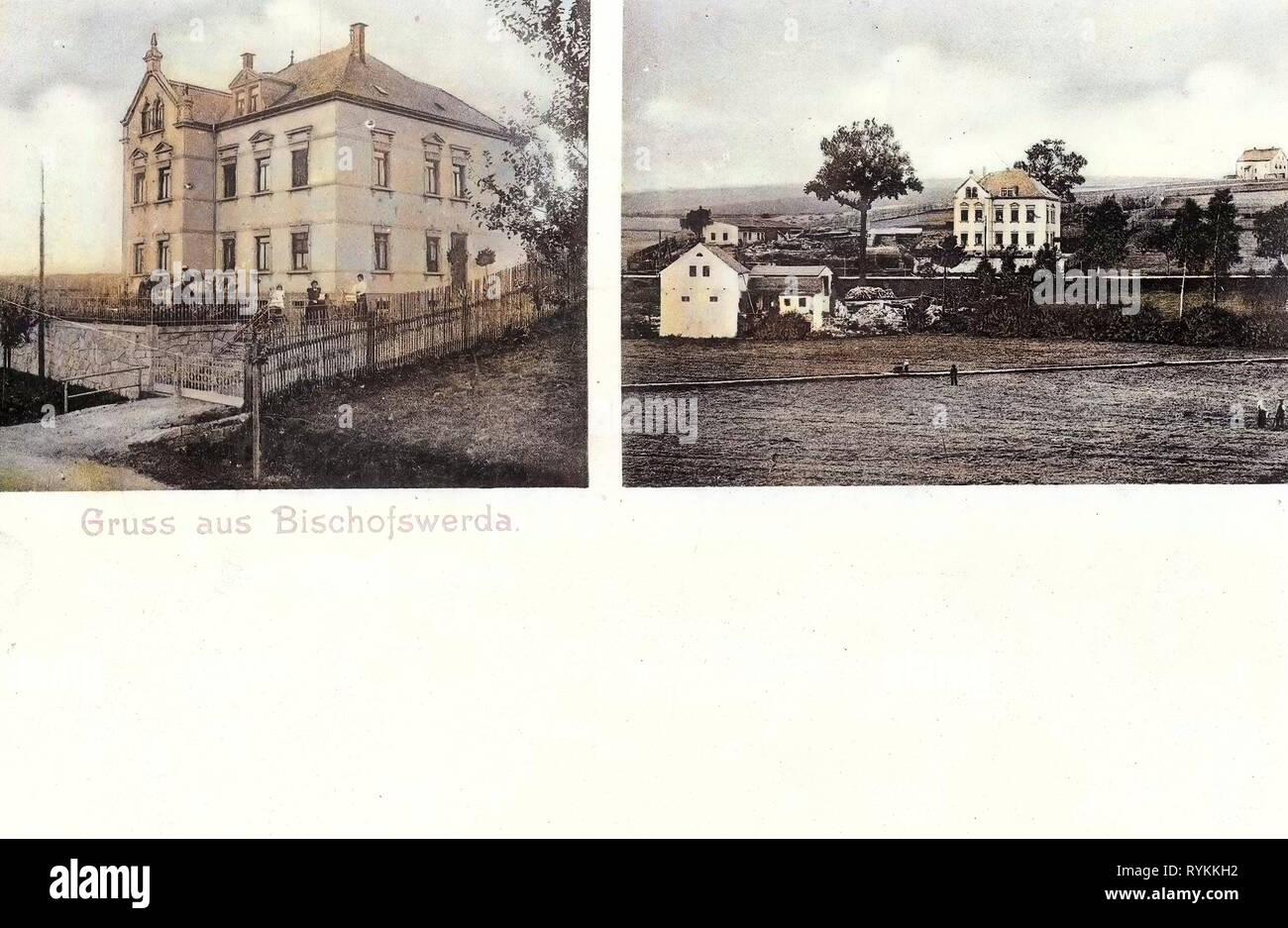 Multiview postcards, Buildings in Bischofswerda, Military facilities of Germany, 1903, Landkreis Bautzen, Bischofswerda, Einzelne Wohnhäuser - Stock Image