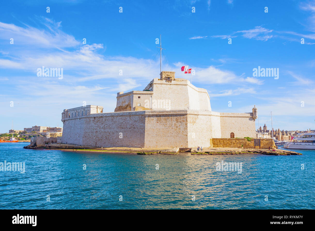 Malta, Valletta, the St Angelo fort seen from the sea - Stock Image