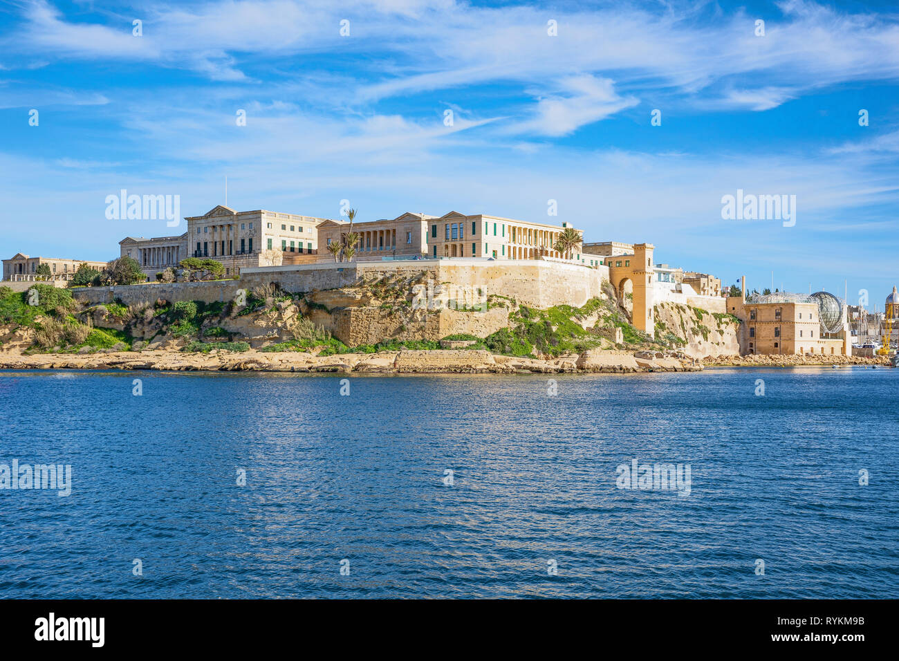 Malta, Valletta, the Bighi Royal Naval Hospital seen from the sea - Stock Image