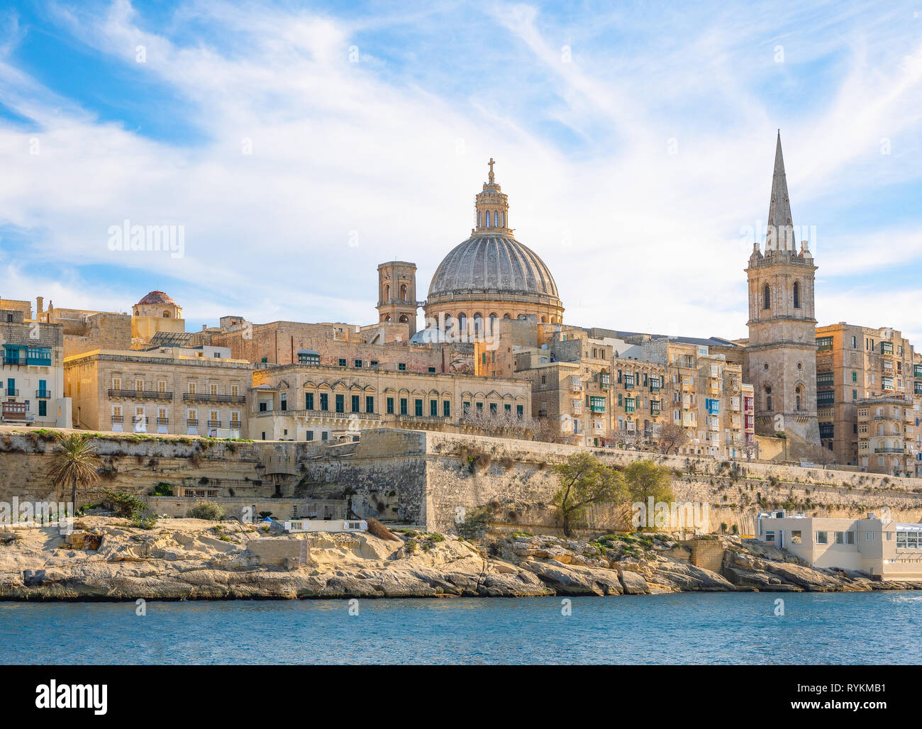 Malta, Valletta, the ancient architectures of the city seen from the sea - Stock Image