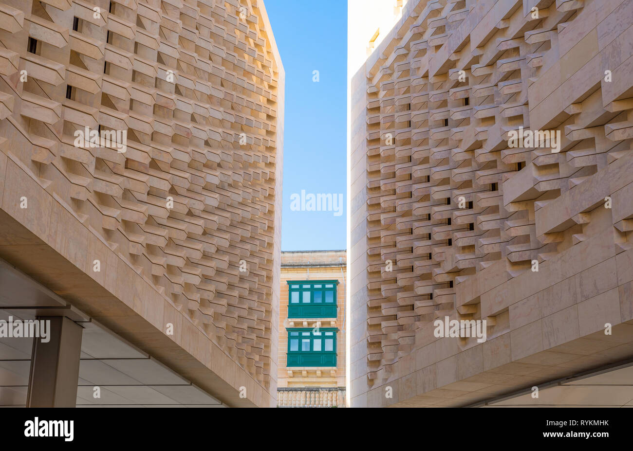 Malta, Valletta, The new Parliament Building, designed by Renzo Piano - Stock Image