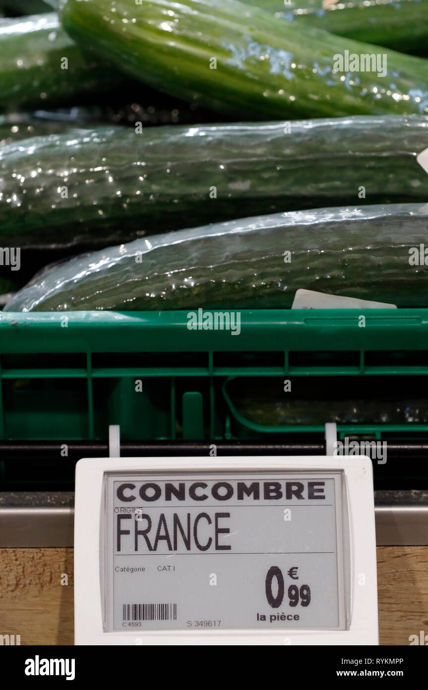Vegetables for sale in supermarket. Cucumber.   France. - Stock Image