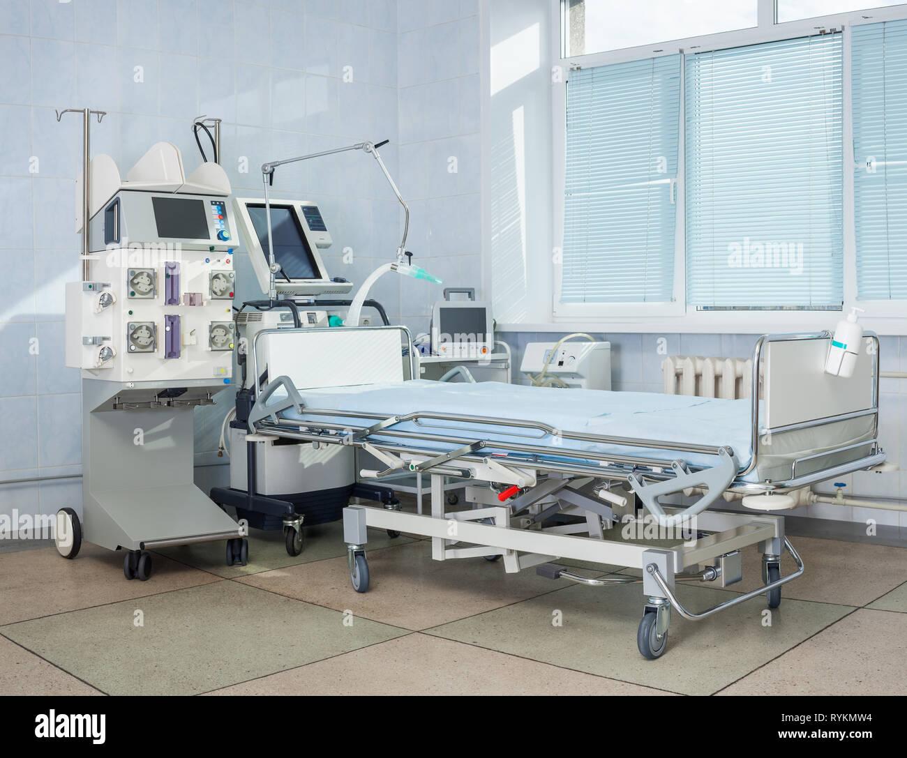 ICU hospital bed - Stock Image